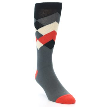 Image of Grey Black Red White Diamond Stripe Men's Dress Socks Socks (side-1-front-02)