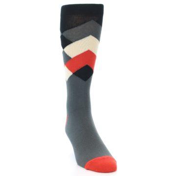 Image of Grey Black Red White Diamond Stripe Men's Dress Socks Socks (side-1-front-03)