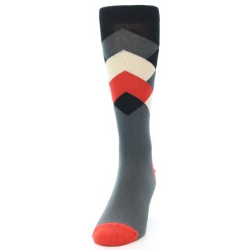 Image of Grey Black Red White Diamond Stripe Men's Dress Socks Socks (side-2-front-06)
