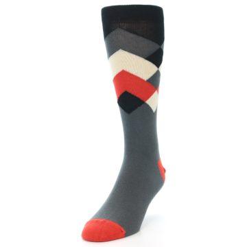 Image of Grey Black Red White Diamond Stripe Men's Dress Socks Socks (side-2-front-07)