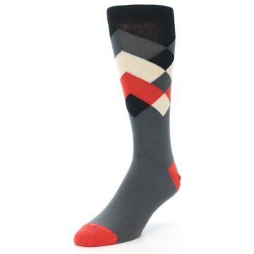 Image of Grey Black Red White Diamond Stripe Men's Dress Socks Socks (side-2-front-08)