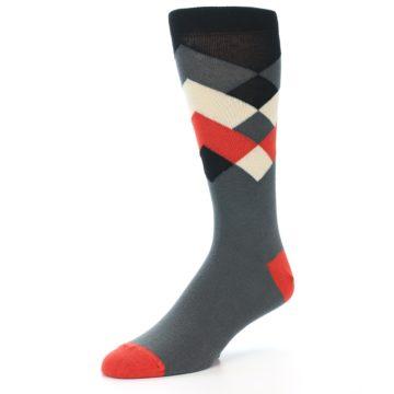 Image of Grey Black Red White Diamond Stripe Men's Dress Socks Socks (side-2-09)