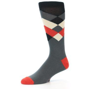 Image of Grey Black Red White Diamond Stripe Men's Dress Socks Socks (side-2-10)
