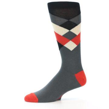 Image of Grey Black Red White Diamond Stripe Men's Dress Socks Socks (side-2-11)