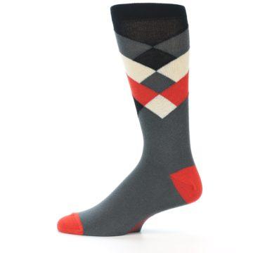 Image of Grey Black Red White Diamond Stripe Men's Dress Socks Socks (side-2-12)
