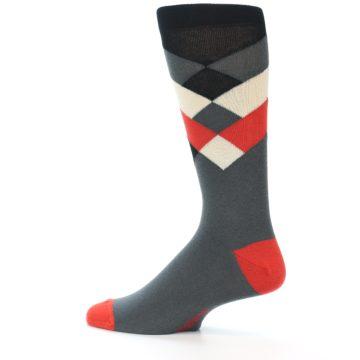 Image of Grey Black Red White Diamond Stripe Men's Dress Socks Socks (side-2-13)
