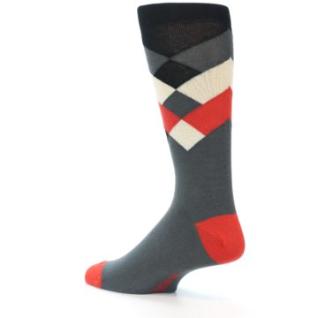 Image of Grey Black Red White Diamond Stripe Men's Dress Socks Socks (side-2-back-14)