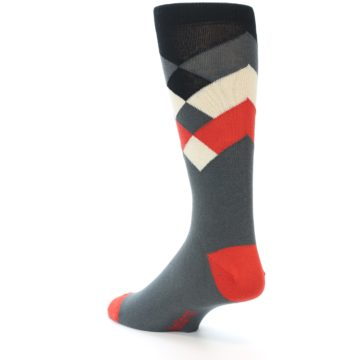 Image of Grey Black Red White Diamond Stripe Men's Dress Socks Socks (side-2-back-15)