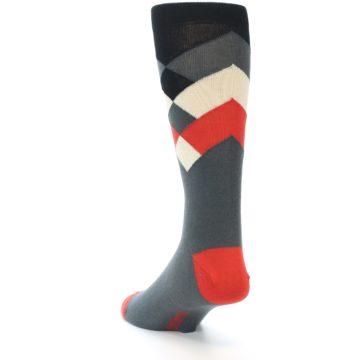 Image of Grey Black Red White Diamond Stripe Men's Dress Socks Socks (side-2-back-16)