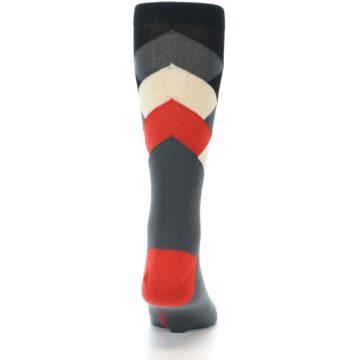 Image of Grey Black Red White Diamond Stripe Men's Dress Socks Socks (back-19)
