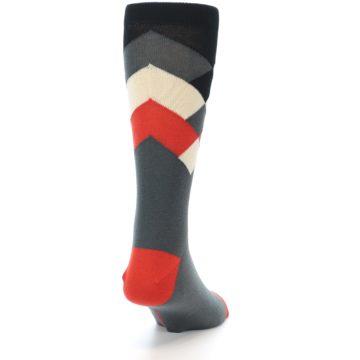Image of Grey Black Red White Diamond Stripe Men's Dress Socks Socks (side-1-back-20)