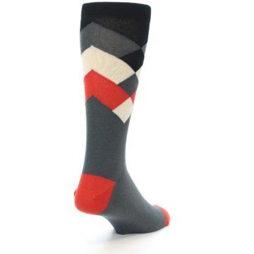 Image of Grey Black Red White Diamond Stripe Men's Dress Socks Socks (side-1-back-21)