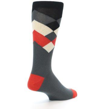 Image of Grey Black Red White Diamond Stripe Men's Dress Socks Socks (side-1-back-22)