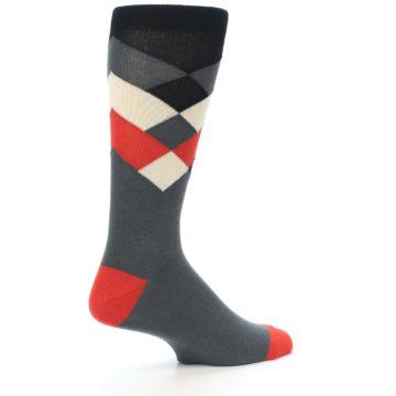 Image of Grey Black Red White Diamond Stripe Men's Dress Socks Socks (side-1-23)