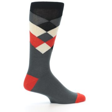 Image of Grey Black Red White Diamond Stripe Men's Dress Socks Socks (side-1-24)