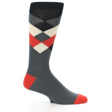 Image of Grey Black Red White Diamond Stripe Men's Dress Socks Socks (side-1-25)