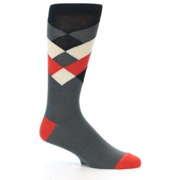 Image of Grey Black Red White Diamond Stripe Men's Dress Socks Socks (side-1-26)