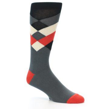 Image of Grey Black Red White Diamond Stripe Men's Dress Socks Socks (side-1-27)