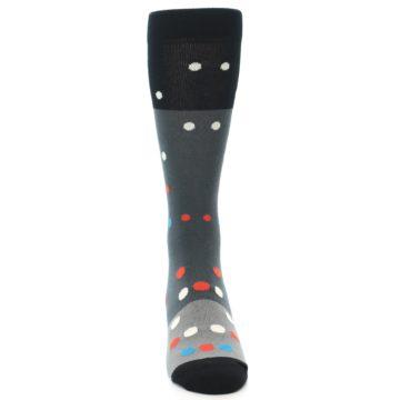 Image of Grey Black Polka Dot Men's Dress Socks Socks (front-04)