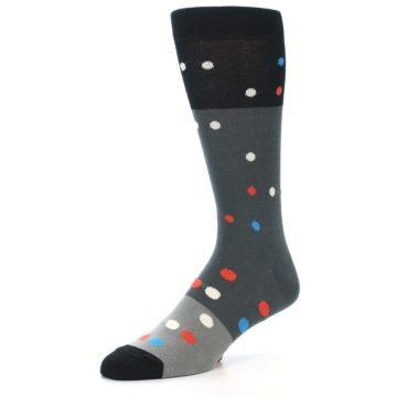 Image of Grey Black Polka Dot Men's Dress Socks Socks (side-2-09)