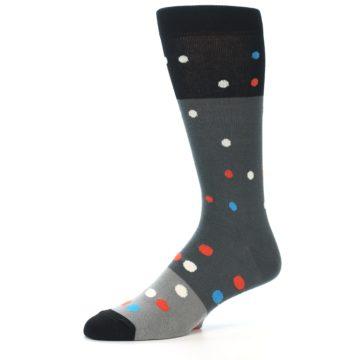 Image of Grey Black Polka Dot Men's Dress Socks Socks (side-2-10)