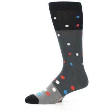 Image of Grey Black Polka Dot Men's Dress Socks Socks (side-2-11)