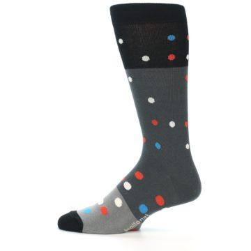 Image of Grey Black Polka Dot Men's Dress Socks Socks (side-2-12)