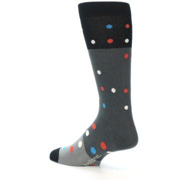 Image of Grey Black Polka Dot Men's Dress Socks Socks (side-2-back-14)