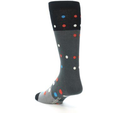 Image of Grey Black Polka Dot Men's Dress Socks Socks (side-2-back-15)