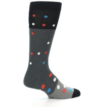 Image of Grey Black Polka Dot Men's Dress Socks Socks (side-1-23)