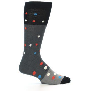 Image of Grey Black Polka Dot Men's Dress Socks Socks (side-1-24)