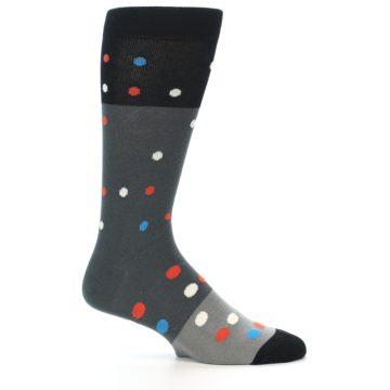 Image of Grey Black Polka Dot Men's Dress Socks Socks (side-1-25)