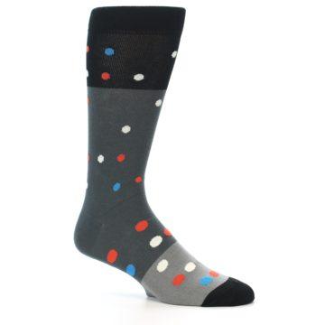 Image of Grey Black Polka Dot Men's Dress Socks Socks (side-1-26)