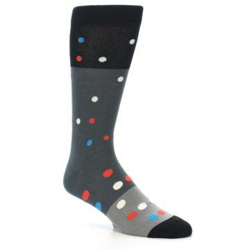 Image of Grey Black Polka Dot Men's Dress Socks Socks (side-1-27)