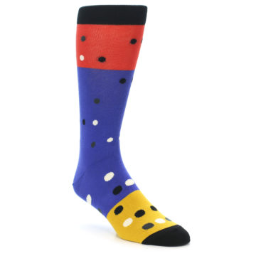 Image of Blue Red Gold Polka Dot Men's Dress Socks Socks (side-1-front-01)