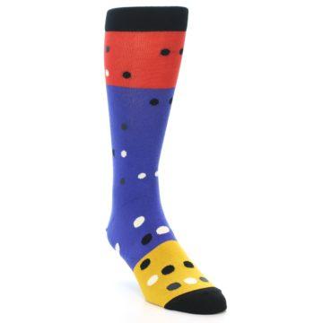 Image of Blue Red Gold Polka Dot Men's Dress Socks Socks (side-1-front-02)