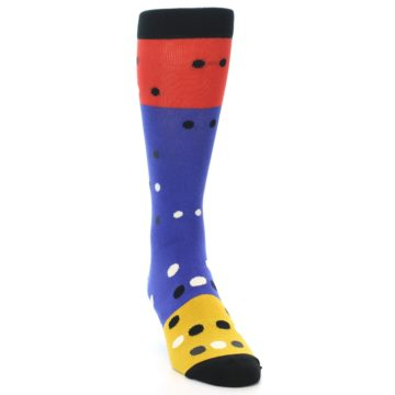 Image of Blue Red Gold Polka Dot Men's Dress Socks Socks (side-1-front-03)