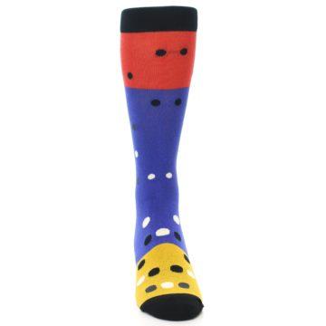 Image of Blue Red Gold Polka Dot Men's Dress Socks Socks (front-04)