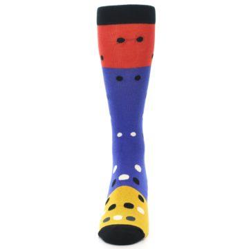 Image of Blue Red Gold Polka Dot Men's Dress Socks Socks (front-05)