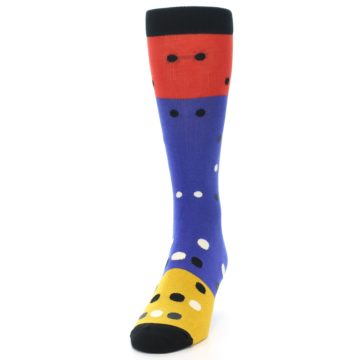 Image of Blue Red Gold Polka Dot Men's Dress Socks Socks (side-2-front-06)