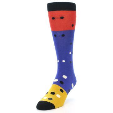 Image of Blue Red Gold Polka Dot Men's Dress Socks Socks (side-2-front-07)