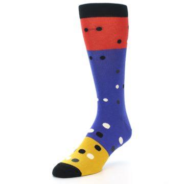 Image of Blue Red Gold Polka Dot Men's Dress Socks Socks (side-2-front-08)