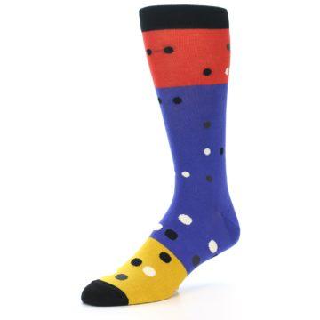 Image of Blue Red Gold Polka Dot Men's Dress Socks Socks (side-2-09)