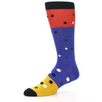 Image of Blue Red Gold Polka Dot Men's Dress Socks Socks (side-2-10)