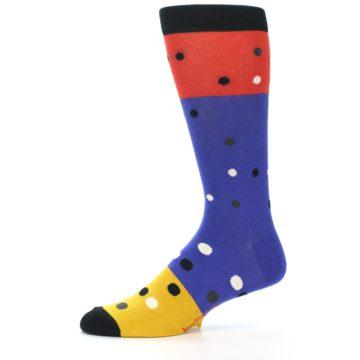 Image of Blue Red Gold Polka Dot Men's Dress Socks Socks (side-2-11)