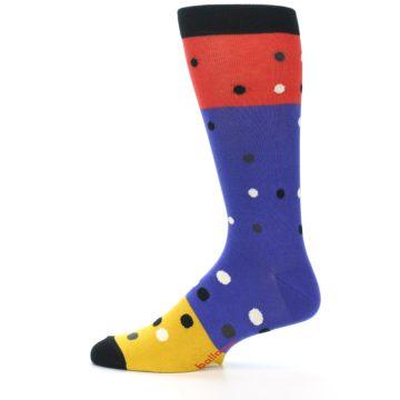 Image of Blue Red Gold Polka Dot Men's Dress Socks Socks (side-2-12)
