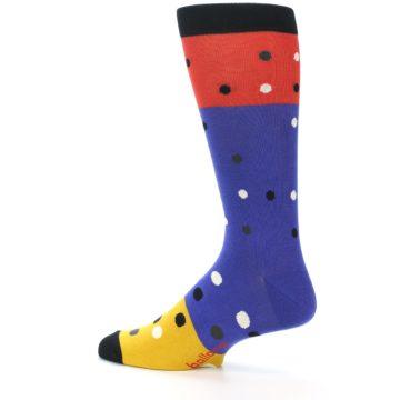 Image of Blue Red Gold Polka Dot Men's Dress Socks Socks (side-2-13)