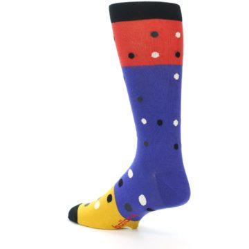 Image of Blue Red Gold Polka Dot Men's Dress Socks Socks (side-2-back-14)