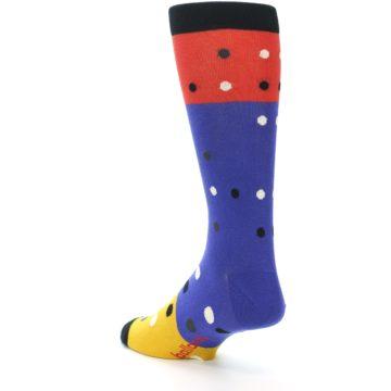 Image of Blue Red Gold Polka Dot Men's Dress Socks Socks (side-2-back-15)