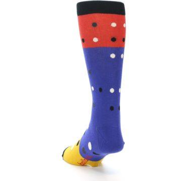 Image of Blue Red Gold Polka Dot Men's Dress Socks Socks (side-2-back-16)